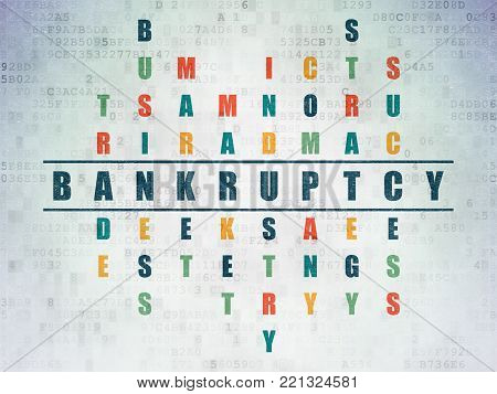 Business concept: Painted blue word Bankruptcy in solving Crossword Puzzle on Digital Data Paper background