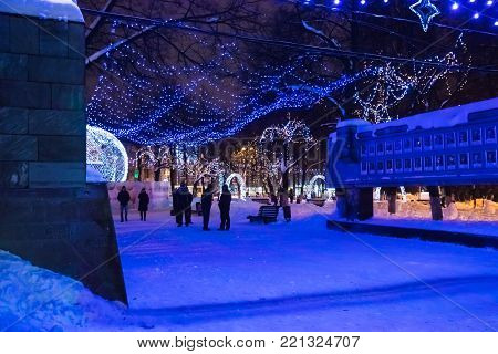 Main Square Of The City Of Kirov Decorated For New Year Celebration