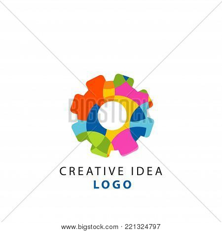 Creative idea geometric logo template with abstract colorful gear. Educational business or development center label. Thinking cogwheel mechanism concept. Vector design element isolated on white.
