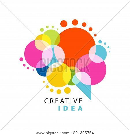 Creative idea logo template with abstract colorful speech bubble. Educational business, learning and developing center label. Power of thinking concept. Flat vector illustration isolated on white