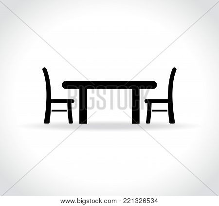 Illustration of dining table on white background