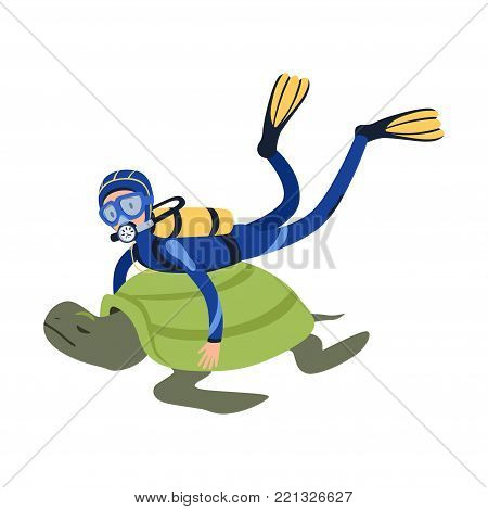 Cartoon man character swimming with giant exotic tortoise in tropical waters. Diver in wetsuit, mask, flippers and aqualung on back. Summer vacation concept. Isolated flat vector illustration.
