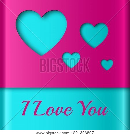 Abstract colorful template with amorous confession turquoise hearts cut out from purple wrapping paper vector illustration