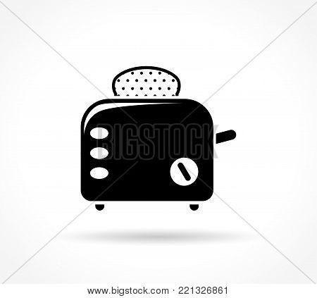 Illustration of toaster icon on white background