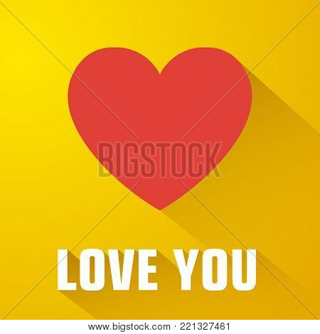 Amorous flat template with love inscription red heart and long shadow on yellow background isolated vector illustration