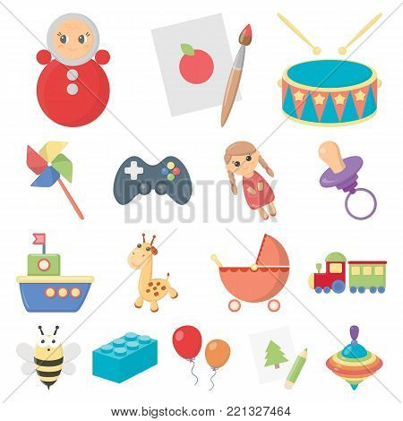 Children's toy cartoon icons in set collection for design. Game and bauble vector symbol stock  illustration.