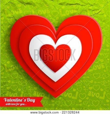 Elegant amorous background with red hearts on green icons crumpled paper seamless pattern vector illustration