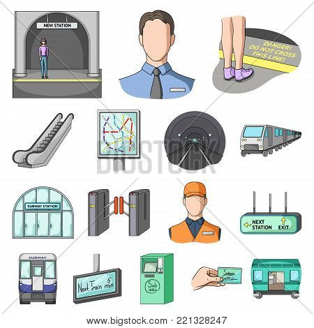 Metro, subway cartoon icons in set collection for design.Urban transport vector symbol stock  illustration.