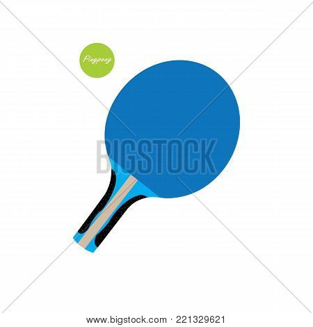 Blue ping pong paddle with green ping bong ball on white background
