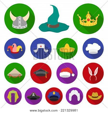 Different kinds of hats flat icons in set collection for design.Headdress vector symbol stock  illustration. poster