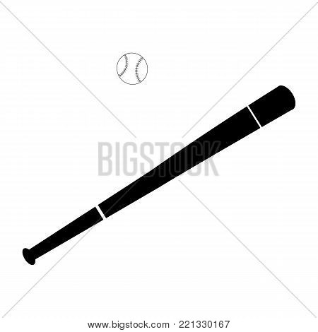 Baseball and baseball bat isolated on white background in simple black and white style