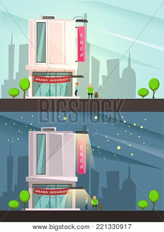 Fashion boutique building with grand opening symbols cartoon vector illustration night and day cityskape