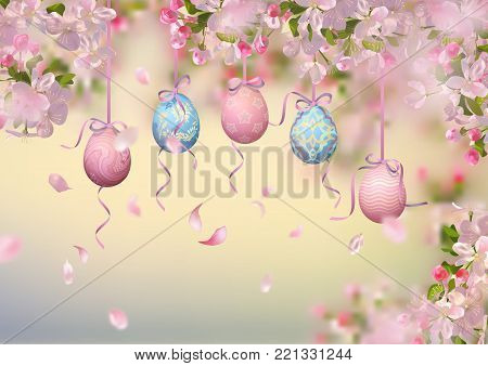 Easter vector background with blooming spring branches, hanging painted eggs and falling petals