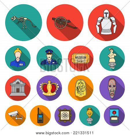 Museum and gallery flat icons in set collection for design. Storage and exhibition of showpiece vector symbol stock  illustration.