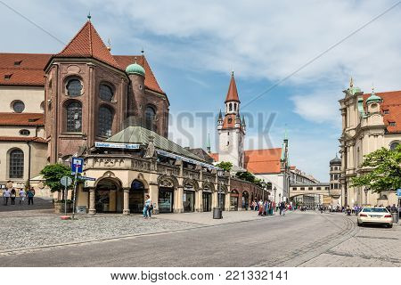 Munich, Germany - May 29, 2016: Street view of the Historic cafe and bakery Rischart at Marienplatz in Munich, Bavaria, Germany.