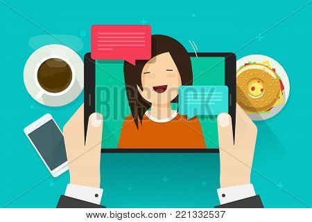 Video chat or call vector illustration, flat cartoon person using tablet for talk or online chatting with girl or woman on table top view, idea of digital internet dialog, distance or remote dating