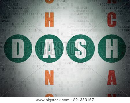 Blockchain concept: Painted green word Dash in solving Crossword Puzzle on Digital Data Paper background