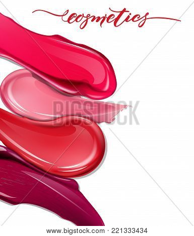 Smears lipstick on white background. Cosmetics commercial, beautiful style. Exquisite smear, glamorous magazine, beauty concept. Realistic mockup, vector illustration