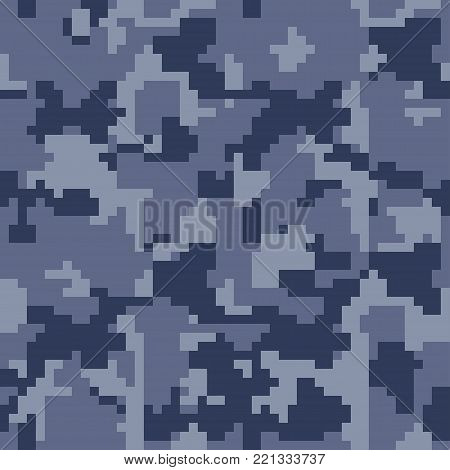 Digital pixel camouflage seamless pattern for your design. Blue camouflage fabric, 8 bit  camouflage, Vector camo texture.