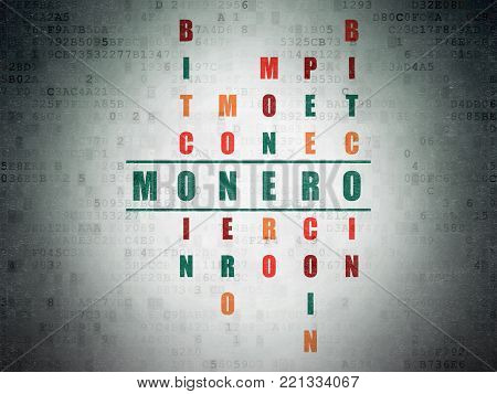 Cryptocurrency concept: Painted green word Monero in solving Crossword Puzzle on Digital Data Paper background