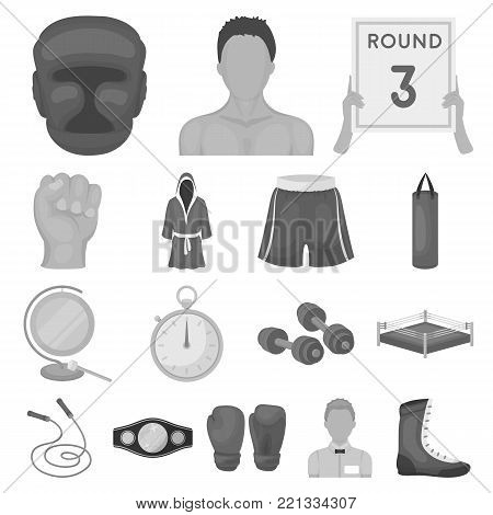 Boxing extreme sports monochrome icons in set collection for design. Boxer and attributes vector symbol stock  illustration.