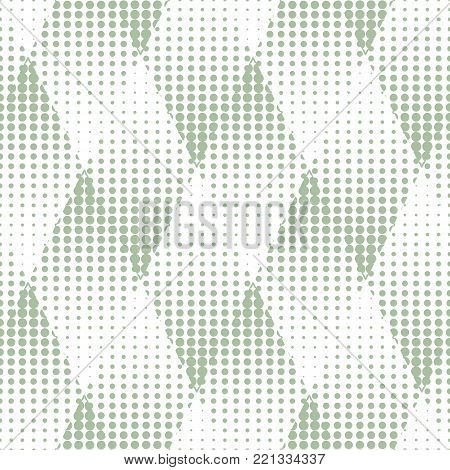 Abstract geometric seamless pattern with triangles. Halftone dots inside of triangles. Vector illustration