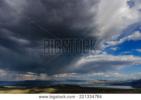 Storm clouds emmassing over Mono Lake in the Sierra Nevadas, near the Town of Lee Vining, on an early august afternoon.