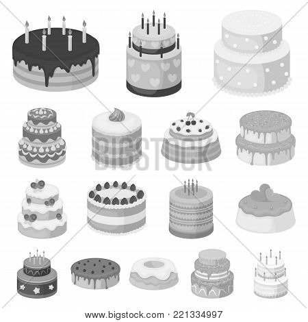 Cake and dessert monochrome icons in set collection for design. Holiday cake vector symbol stock  illustration.