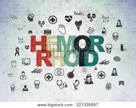 Medicine concept: Painted multicolor text Hemorrhoid on Digital Data Paper background with  Hand Drawn Medicine Icons