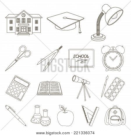 School and education outline icons in set collection for design.College, equipment and accessories vector symbol stock  illustration.