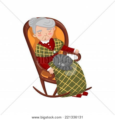 Grandma sleeping in cozy chair with cat on her knees cartoon vector Illustration on a white background