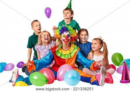 Birthday child clown playing with children and bunny fingers prank. Kid celebrate holiday valentines day . Fun of group people pose for camera on white background.