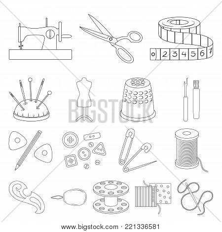 Sewing, atelier outline icons in set collection for design. Tool kit vector symbol stock  illustration.