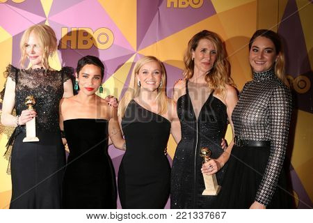 LOS ANGELES - JAN 7:  Nicole Kidman, Zoe Kravitz, Reese Witherspoon, Laura Dern, Shailene Woodley_at the HBO Post Golden Globe Party 2018 at Beverly Hilton Hotel on January 7, 2018 in Beverly Hills, C