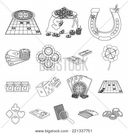 Casino and equipment outline icons in set collection for design. Gambling and money vector symbol stock  illustration.