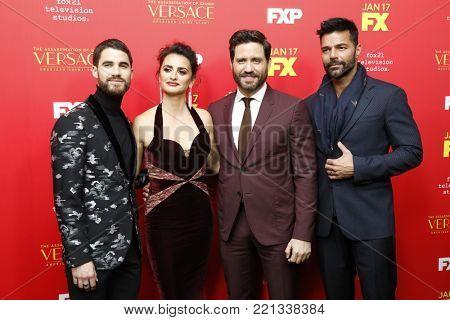 LOS ANGELES - JAN 8:  Darren Criss, Penelope Cruz, Edgar Ramirez, Ricky Martin at the
