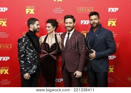 LOS ANGELES - JAN 8:  Darren Criss, Penelope Cruz, Edgar Ramirez, Ricky Martin at the