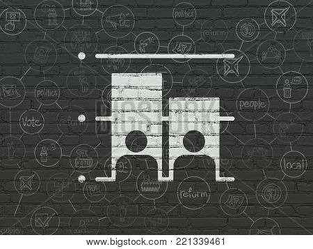 Political concept: Painted white Election icon on Black Brick wall background with Scheme Of Hand Drawn Politics Icons