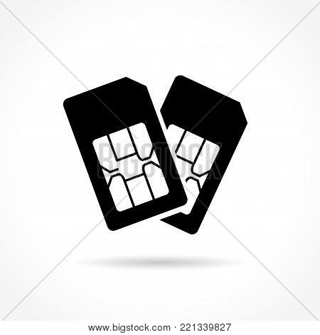 Illustration of dual sim card icon on white background