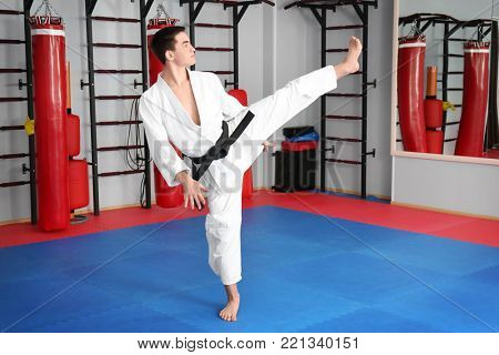 Male karate instructor in dojo