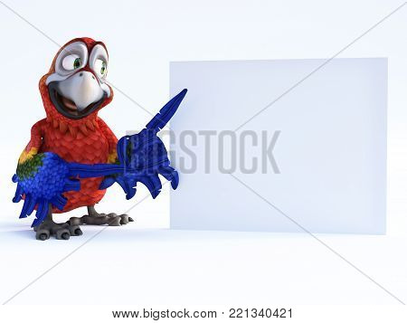 3D rendering of cartoon parrot smiling and pointing with its wing to a blank sign. White background.