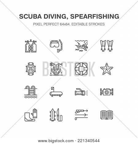 Scuba diving, snorkeling line icons. Spearfishing equipment - mask tube, flippers, swim suit, diver. Water sport, summer activity thin linear signs. Pixel perfect 64x64.