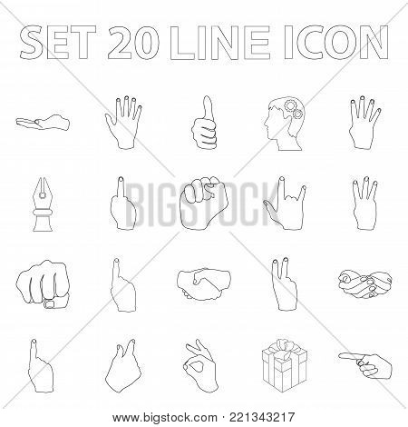Hand gesture outline icons in set collection for design. Palm and finger vector symbol stock  illustration.