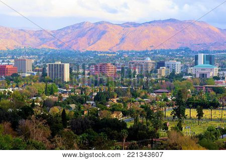 January 9, 2018 in Riverside, CA:  Downtown Riverside, CA Skyline taken from Mt Rubidoux where people can ho hiking on trails to the summit which has great views of Riverside and the surrounding landscape