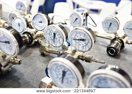 Pressure gauges manometers for water supply on store shelves