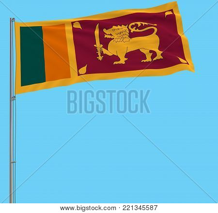 Isolate flag of Sri Lanka on a flagpole fluttering in the wind on a blue background, 3d rendering
