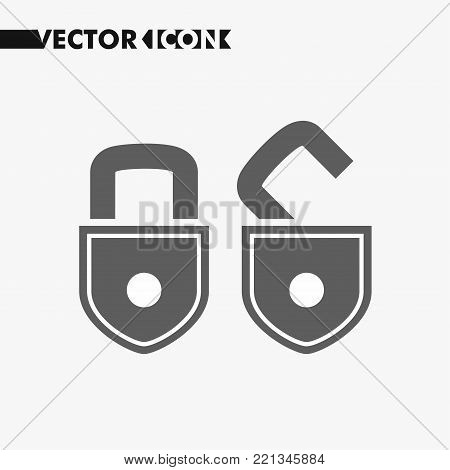 Open lock and close lock flat icons. Silhouette lock. Monochrome locks isolated on grey background. Vector set