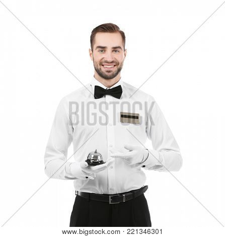 Handsome bellboy on white background