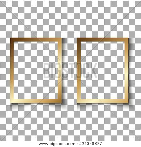Set of Realistic vector blank photo frame with soft transparent shadow isolated on transparent background.   Vector illustration  retro photo frame template photo design. Vintage style