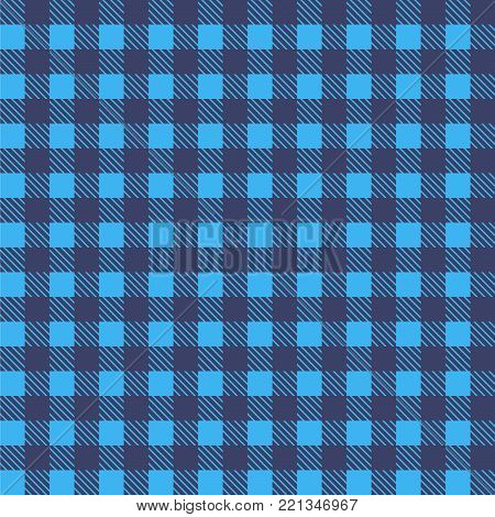 Blue  seamless tablecloth Vector. Airy Blue and Riverside color. Seamless traditional tablecloth pattern Vector. Pastel blue color square pattern Vector.